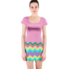 Easter Chevron Pattern Stripes Short Sleeve Bodycon Dress by Amaryn4rt