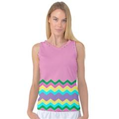 Easter Chevron Pattern Stripes Women s Basketball Tank Top by Amaryn4rt