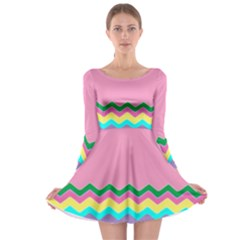 Easter Chevron Pattern Stripes Long Sleeve Skater Dress