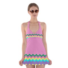 Easter Chevron Pattern Stripes Halter Swimsuit Dress by Amaryn4rt