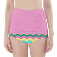 Easter Chevron Pattern Stripes High Waisted Bikini Bottoms by Amaryn4rt