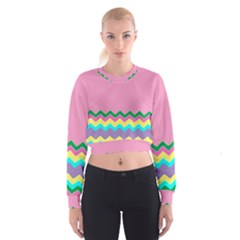 Easter Chevron Pattern Stripes Women s Cropped Sweatshirt