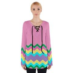 Easter Chevron Pattern Stripes Women s Tie Up Tee by Amaryn4rt