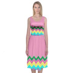 Easter Chevron Pattern Stripes Midi Sleeveless Dress by Amaryn4rt