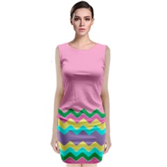 Easter Chevron Pattern Stripes Classic Sleeveless Midi Dress by Amaryn4rt