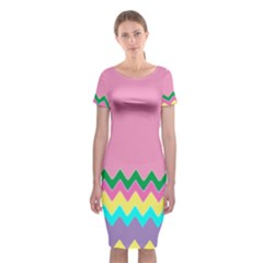 Easter Chevron Pattern Stripes Classic Short Sleeve Midi Dress