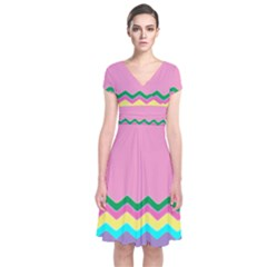 Easter Chevron Pattern Stripes Short Sleeve Front Wrap Dress by Amaryn4rt
