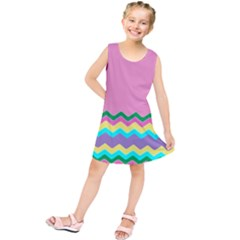 Easter Chevron Pattern Stripes Kids  Tunic Dress
