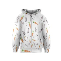 Rabbit Carrot Pattern Weft Step Kids  Zipper Hoodie