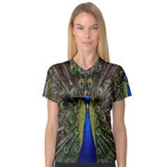 Bird Peacock Display Full Elegant Plumage Women s V Neck Sport Mesh Tee