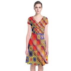 Background Texture Pattern Short Sleeve Front Wrap Dress