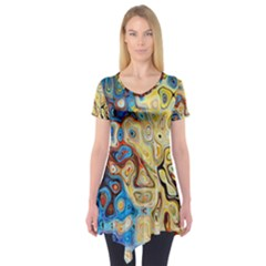 Background Structure Absstrakt Color Texture Short Sleeve Tunic