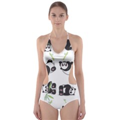 Panda Tile Cute Pattern Cut Out One Piece Swimsuit by Amaryn4rt