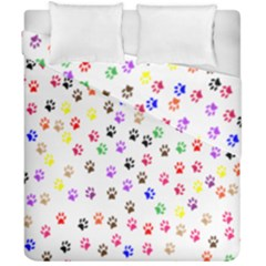 Paw Prints Background Duvet Cover Double Side (california King Size) by Amaryn4rt