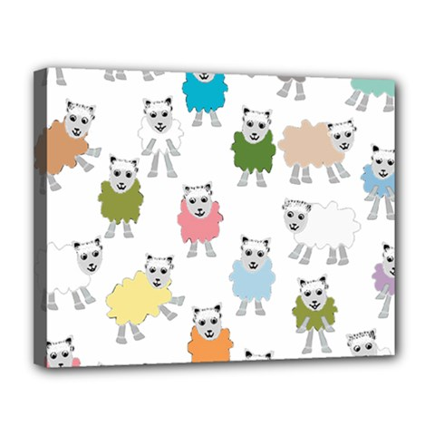 Sheep Cartoon Colorful Canvas 14  X 11  by Amaryn4rt