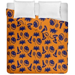 Witch Hat Pumpkin Candy Helloween Blue Orange Duvet Cover Double Side (california King Size) by Alisyart