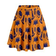 Witch Hat Pumpkin Candy Helloween Blue Orange High Waist Skirt by Alisyart
