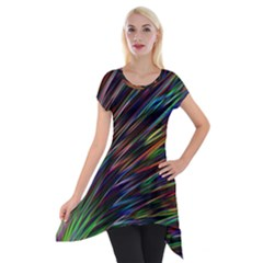 Texture Colorful Abstract Pattern Short Sleeve Side Drop Tunic by Amaryn4rt