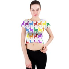 Colorful Horse Background Wallpaper Crew Neck Crop Top by Amaryn4rt
