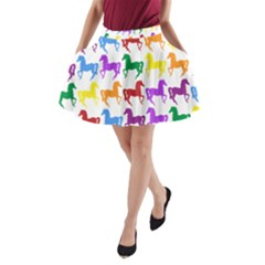 Colorful Horse Background Wallpaper A Line Pocket Skirt by Amaryn4rt