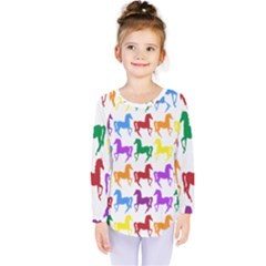 Colorful Horse Background Wallpaper Kids  Long Sleeve Tee by Amaryn4rt