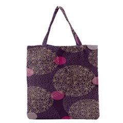 Twig Surface Design Purple Pink Gold Circle Grocery Tote Bag by Alisyart