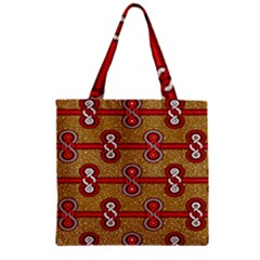 African Fabric Iron Chains Red Purple Pink Zipper Grocery Tote Bag by Alisyart