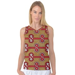 African Fabric Iron Chains Red Purple Pink Women s Basketball Tank Top by Alisyart