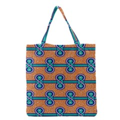 African Fabric Iron Chains Blue Orange Grocery Tote Bag by Alisyart