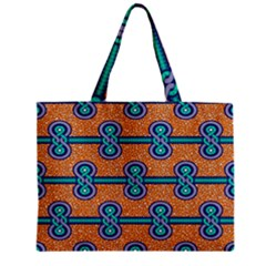 African Fabric Iron Chains Blue Orange Zipper Mini Tote Bag by Alisyart