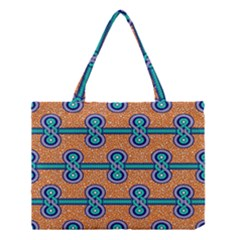 African Fabric Iron Chains Blue Orange Medium Tote Bag by Alisyart