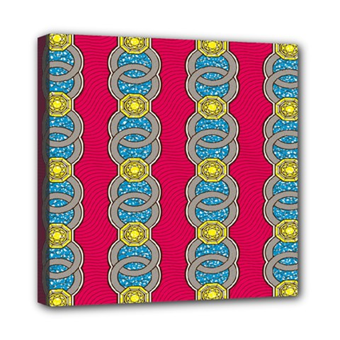 African Fabric Iron Chains Red Yellow Blue Grey Mini Canvas 8  X 8  by Alisyart