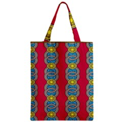 African Fabric Iron Chains Red Yellow Blue Grey Zipper Classic Tote Bag by Alisyart