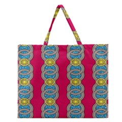 African Fabric Iron Chains Red Yellow Blue Grey Zipper Large Tote Bag by Alisyart
