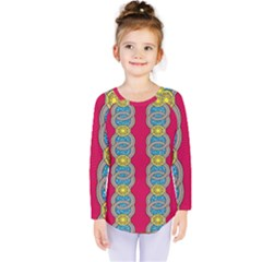 African Fabric Iron Chains Red Yellow Blue Grey Kids  Long Sleeve Tee by Alisyart