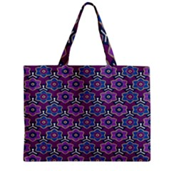 African Fabric Flower Purple Mini Tote Bag by Alisyart