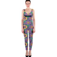 African Fabric Flower Green Purple Onepiece Catsuit by Alisyart