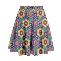 African Fabric Flower Green Purple High Waist Skirt by Alisyart