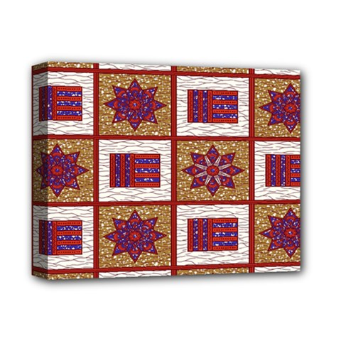 African Fabric Star Plaid Gold Blue Red Deluxe Canvas 14  X 11  by Alisyart
