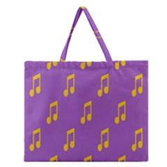 Eighth Note Music Tone Yellow Purple Zipper Large Tote Bag by Alisyart