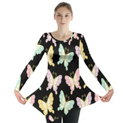 Butterfly Fly Gold Pink Blue Purple Black Long Sleeve Tunic  by Alisyart