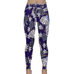 Butterfly Iron Chains Blue Purple Animals White Fly Floral Flower Classic Yoga Leggings