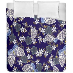 Butterfly Iron Chains Blue Purple Animals White Fly Floral Flower Duvet Cover Double Side (california King Size) by Alisyart