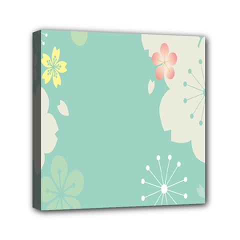 Flower Blue Pink Yellow Mini Canvas 6  X 6  by Alisyart