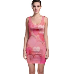 Hearts Pink Background Sleeveless Bodycon Dress