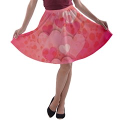 Hearts Pink Background A-line Skater Skirt by Amaryn4rt