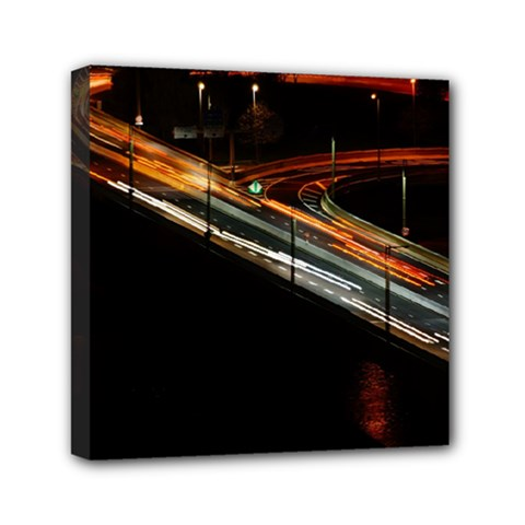 Highway Night Lighthouse Car Fast Mini Canvas 6  X 6  by Amaryn4rt