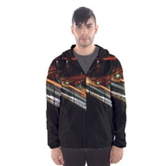 Highway Night Lighthouse Car Fast Hooded Wind Breaker (men) by Amaryn4rt