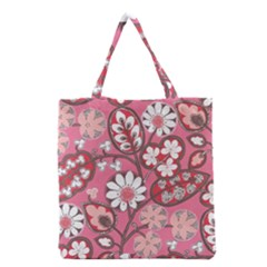 Flower Floral Red Blush Pink Grocery Tote Bag by Alisyart