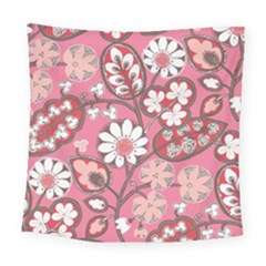 Flower Floral Red Blush Pink Square Tapestry (large) by Alisyart